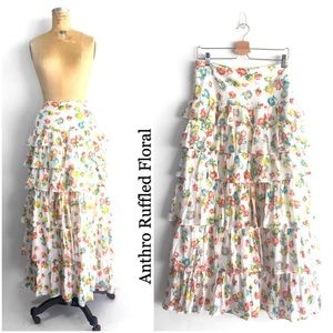 Anthro Ruffled Floral Maxi Skirt by odille ❤️